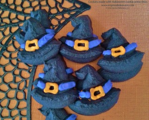witch-hat-cookies-made-with-halloween-cookie-press-disks-2014-impress-bakeware-llc-spritz