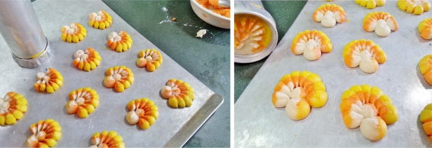 pressing candy corn turkey cookies © 2014 Impress!™ Bakeware