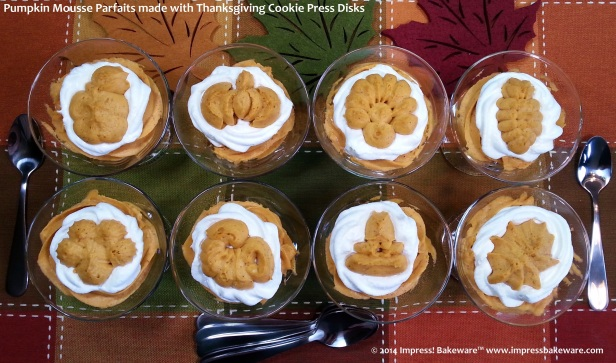 pumpkin mousse parfaits made with Thanksgiving cookie press disks © 2014 Impress! Bakeware™