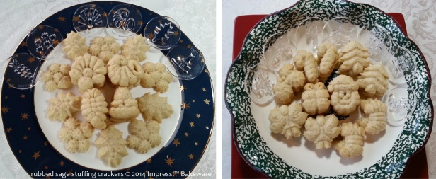 rubbed sage stuffing crackers for cookie press © 2014 Impress!™ Bakeware 1