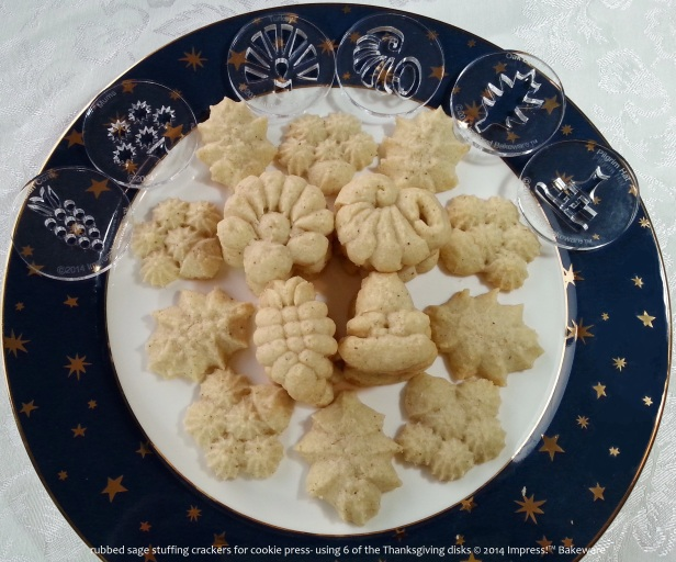rubbed sage stuffing crackers for cookie press- using 6 of the Thanksgiving disks © 2014 Impress!™ Bakeware