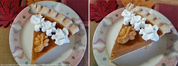 slice of pumpkin pie with pumpkin mousse oak leaf decoration © 2014 Impress!™ Bakeware c