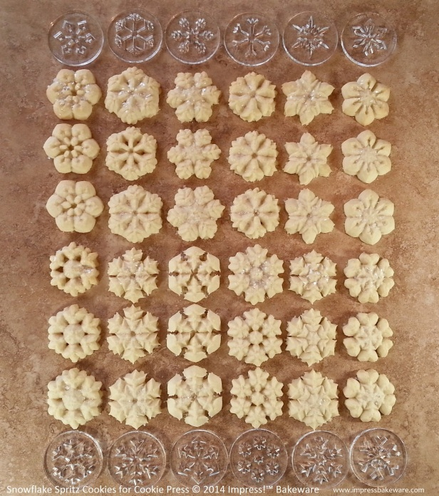 Snowflake Spritz Cookies for Cookie Press © 2014 Impress!™ Bakeware Christmas