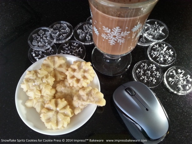 Snowflake Spritz Cookies for Cookie Press © 2014 Impress!™ Bakeware d