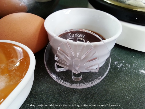Turkey cookie press disk for candy corn turkey cookies © 2014 Impress!™ Bakeware