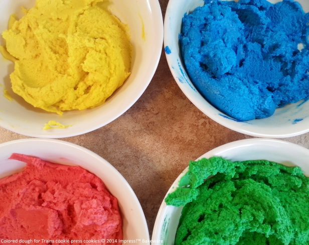Colored dough for Trains cookie press cookies © 2014 Impress!™ Bakeware