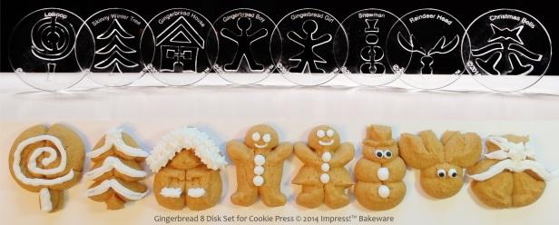 Gingerbread 8 Disk Set for Cookie Press © 2014 Impress!™ Bakeware Christmas spritz cookies