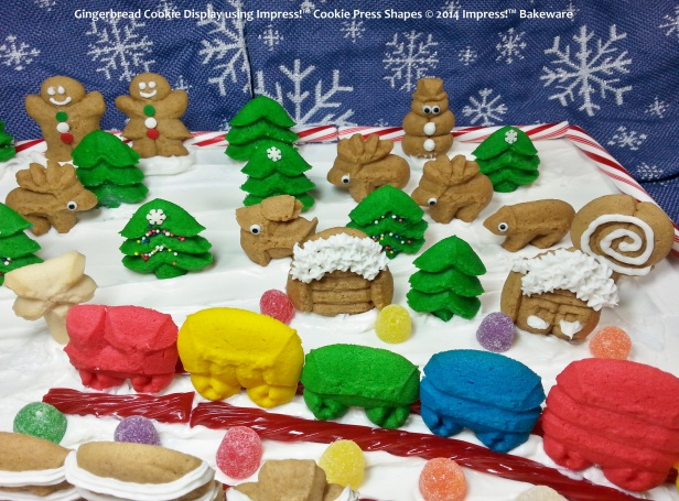 Gingerbread Cookie Display using Impress!™ Cookie Press Shapes © 2014 Impress!™ Bakeware-