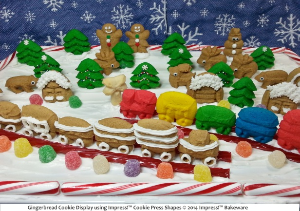 Gingerbread Cookie Display using Impress!™ Cookie Press Shapes. © 2014 Impress!™ Bakeware -