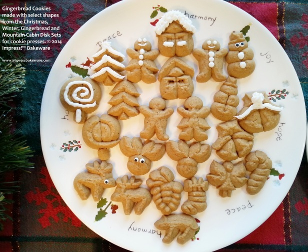Gingerbread Cookies made with select shapes from the Christmas, Winter, Gingerbread and Mountain Cabin Disk Sets for cookie presses. © 2014 Impress!™ Bakeware Christmas spritz