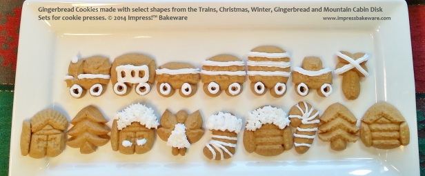 Gingerbread Cookies made with select shapes from the Trains, Christmas, Winter, Gingerbread and Mountain Cabin Disk Sets for cookie presses. © 2014 Impress!™ Bakeware