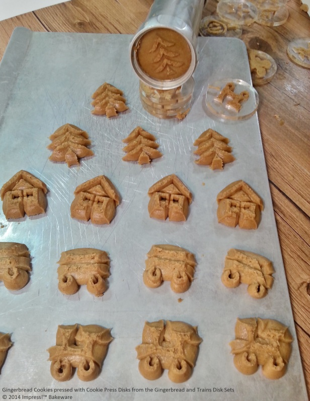 Gingerbread Cookies pressed with Cookie Press Disks from the Gingerbread and Trains Disk Sets