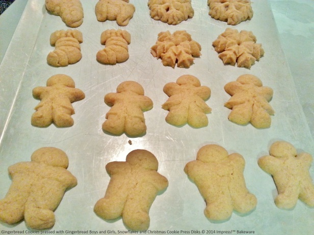 Gingerbread Cookies pressed with Gingerbread Boys and Girls, Snowflakes and Christmas Cookie Press Disks © 2014 Impress!™ Bakeware
