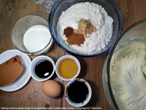 ingredients- making molasses ginger dough for gingerbread spritz -cookie press- cookies © 2014 Impress!™ Bakeware