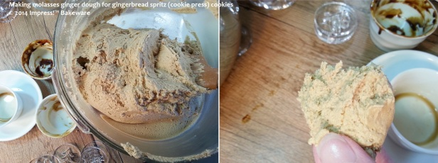 making molasses ginger dough for gingerbread spritz -cookie press- cookies.. © 2014 Impress!™ Bakeware