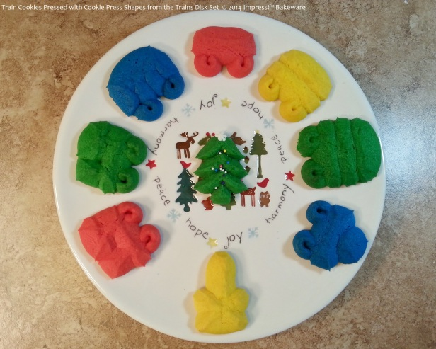 Train Cookies Pressed with Cookie Press Shapes from the Trains Disk Set © 2014 Impress!™ Bakeware