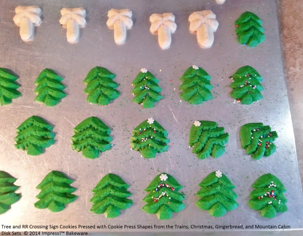 Tree and RR Crossing Sign Cookies Pressed with Cookie Press Shapes from the Trains, Christmas, Gingerbread, and Mountain Cabin Disk Sets © 2014 Impress!™ Bakeware