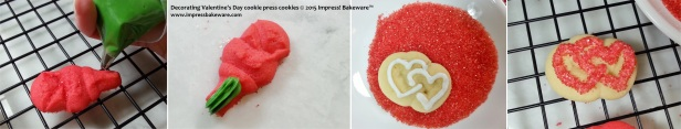 Decorating Valentine's Day cookie press cookies   -© 2015 Impress! Bakeware™