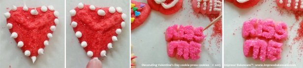 Decorating Valentine's Day cookie press cookies     © 2015 Impress! Bakeware™