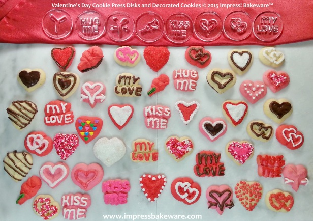 Valentine's Day cookie press disks & decorated cookies © 2015 Impress! Bakeware™