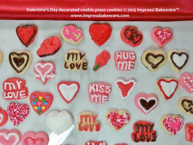 Valentine's Day decorated cookie press cookies -© 2015 Impress! Bakeware™