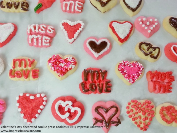 Valentine's Day decorated cookie press cookies     © 2015 Impress! Bakeware™
