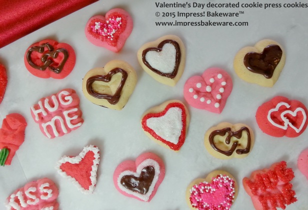 Valentine's Day decorated cookie press cookies- © 2015 Impress! Bakeware™