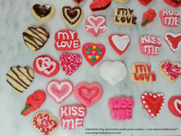 Valentine's Day decorated cookie press cookies-- © 2015 Impress! Bakeware™