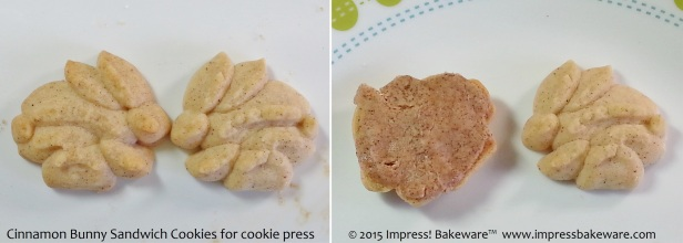 Cinnamon Bunny Sandwich Cookies for cookie press  -© 2015 Impress! Bakeware™