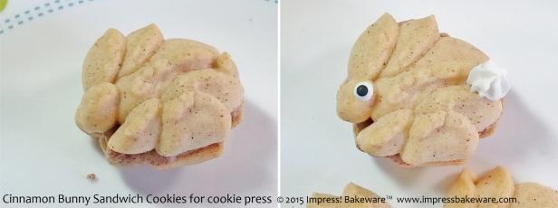 Cinnamon Bunny Sandwich Cookies for cookie press   - © 2015 Impress! Bakeware™