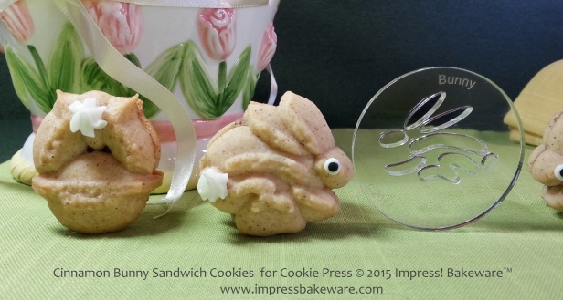 Cinnamon Bunny Sandwich Cookies  for Cookie Press- © 2015 Impress! Bakeware™
