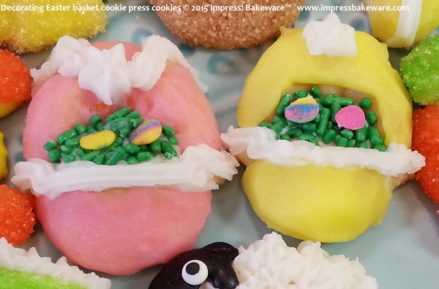 Decorating Easter basket cookie press cookies © 2015 Impress! Bakeware™
