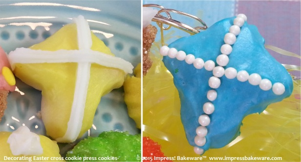 Decorating Easter cross cookie press cookies-  © 2015 Impress! Bakeware™