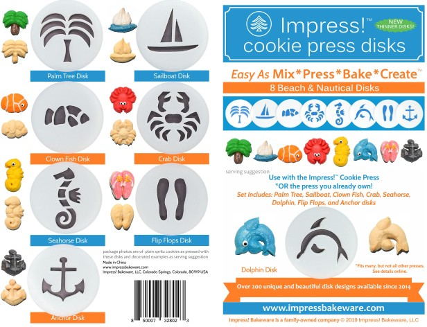 Beach & Nautical Cookie Press Disk Set spritz © 2019 Impress! Bakeware, LLC