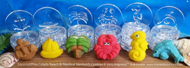 Coconut-Pina Colada Beach & Nautical Sandwich Cookies © 2015 Impress!™ Bakeware