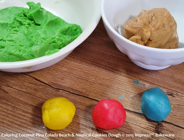 Coloring Coconut-Pina Colada Beach & Nautical Cookies Dough © 2015 Impress!™ Bakeware