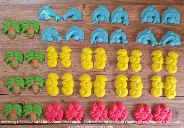 Matching Up Cookie Sizes for Coconut-Pina Colada Beach & Nautical Sandwich Cookies  © 2015 Impress!™ Bakeware