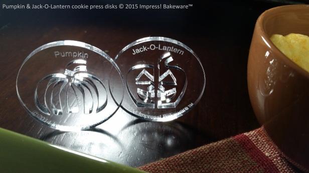 Pumpkin & Jack-O-Lantern cookie press disks © 2015 Impress! Bakeware™