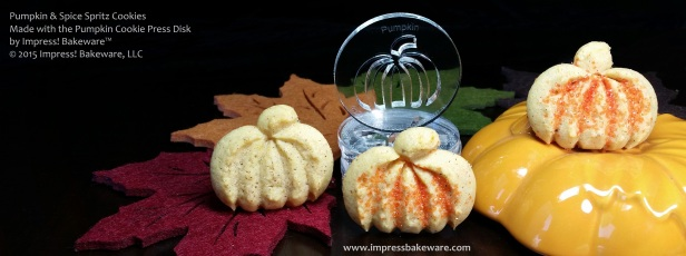 Pumpkin & Spice Spritz Cookies made with the Pumpkin Cookie Press Disk by Impress! Bakeware™ © 2015 Impress! Bakeware, LLC