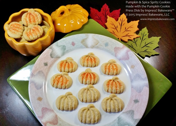 Pumpkin & Spice Spritz Cookies made with the Pumpkin Cookie Press Disk by Impress! Bakeware™ © 2015 Impress! Bakeware, LLC