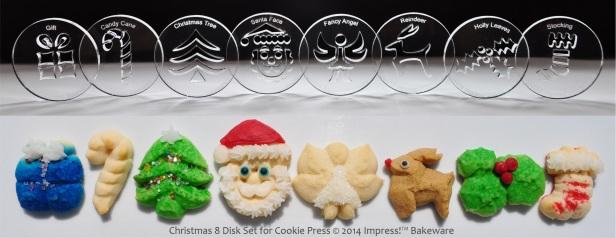 Christmas 8 Disk Set for Cookie Press © 2014 Impress!™ Bakeware  spritz cookies