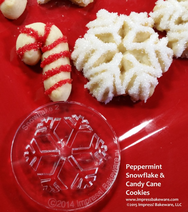 Peppermint Snowflake & Candy Cane Cookies © 2015 Impress! Bakeware, LLC