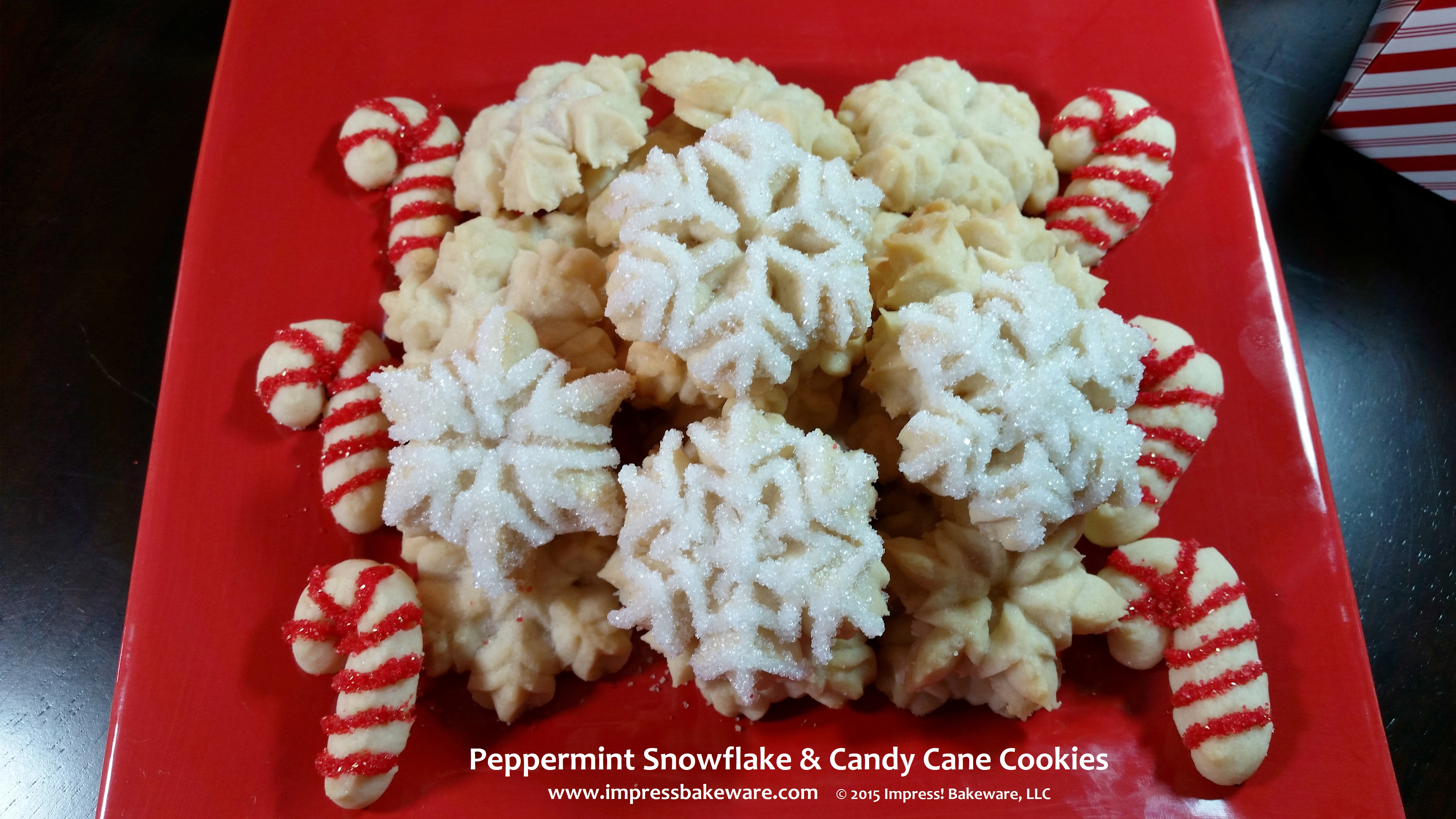 Peppermint Snowflake & Candy Cane Cookies© 2015 Impress! Bakeware ...