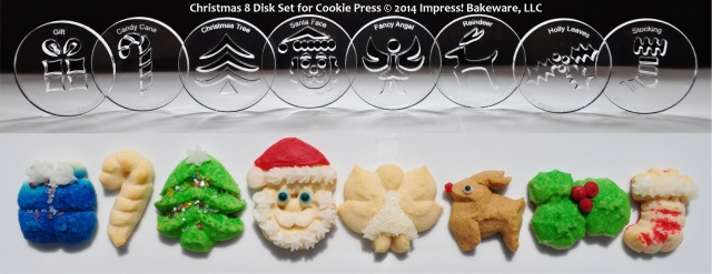 Christmas 8 Disk Set for Cookie Press © 2014 Impress! Bakeware, LLC spritz cookies