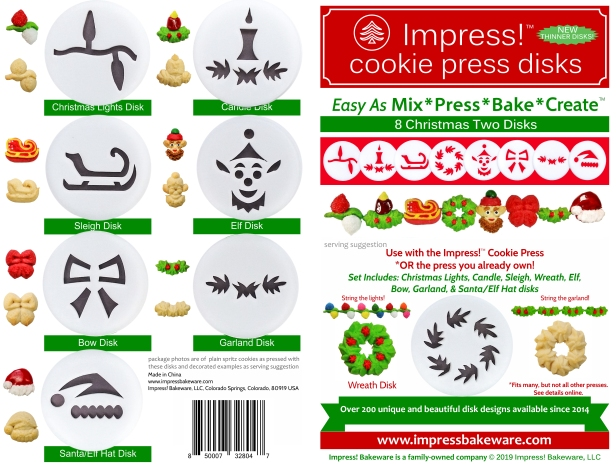 Christmas Two Cookie Press Disk Set spritz © 2019 Impress! Bakeware, LLC