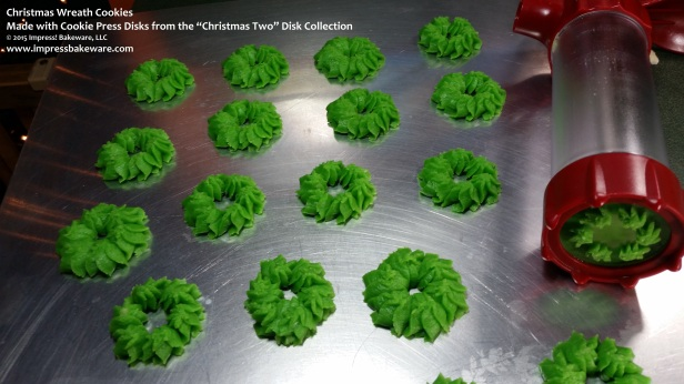 Christmas Wreath Cookie Press Spritz Cookies © 2015 Impress! Bakeware, LLC