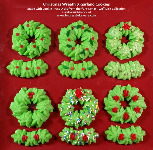 Christmas  Wreath & Garland Cookie Press Spritz Cookies © 2015 Impress! Bakeware, LLC