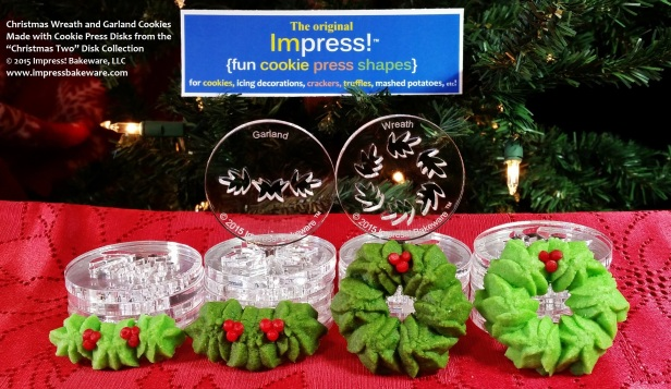 Christmas Wreath & Garland Cookies- Cookie Press Disks from Christmas Two Disk Collection- © 2015 Impress! Bakeware, LLC