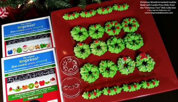 Christmas Wreath & Garland Cookies- Cookie Press Disks- spritz cookies  © 2015 Impress! Bakeware, LLC