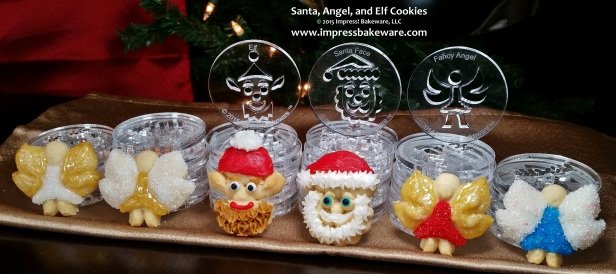 Santa, Angel and Elf Cookie Press Cookies & Disks © 2015 Impress! Bakeware, LLC Spritz